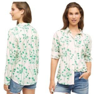 Anthropologie Holding Horses Green Embroidered top